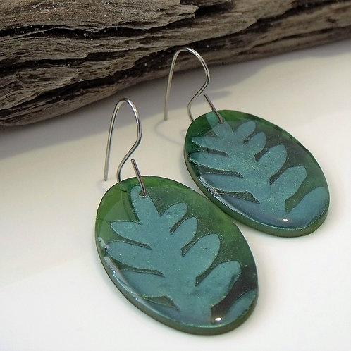 Rainforest Green Oval Earrings 2