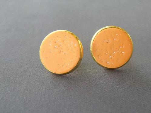 orange sand circle earring