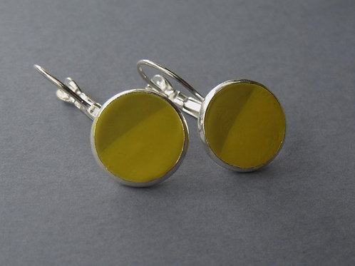 Half Yellow Silver Plated Drop Earrings
