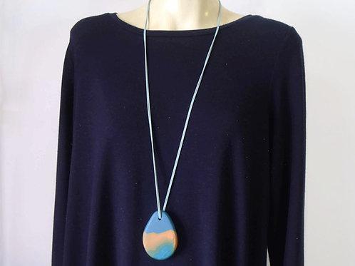 Long Blue & Orange Chunky Pendant Necklace | Salt  Spray Jewellery