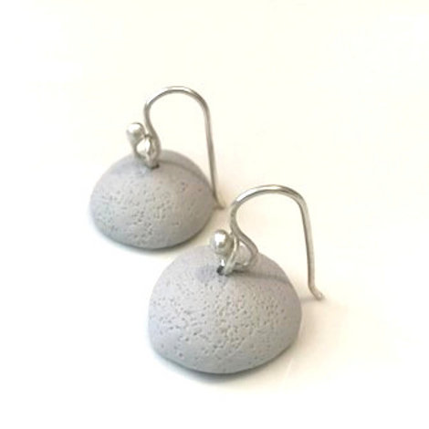 Grey Sterling Silver Organic Clay Drop Earring | Salt Spray Jewellery