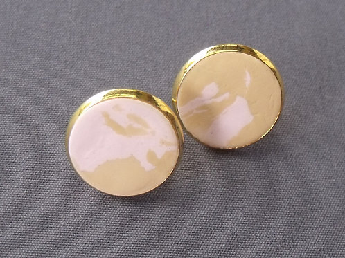 Gold Plated Stud Earrings Pink/Camel