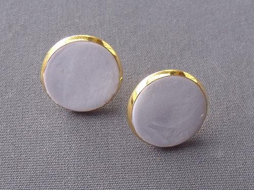 Gold Plated Stud Earrings Grey Swirl