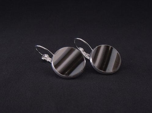 Grey & Black Silver Drop Earrings | Salt Spray Jewellery