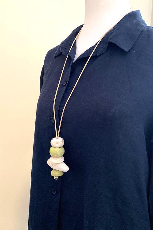 Avocado/White Adjustable Pendant Necklace