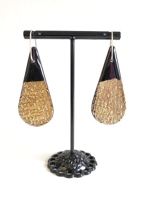 Black & Gold Teardop Statement Earring | Salt Spray Jewellery
