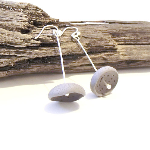 Dark Grey Sterling Silver Organic Clay Drop Earring | Salt Spray Jewellery