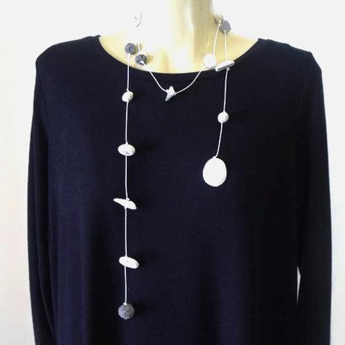 Long White Clay Wrap Necklace | Salt Spray Jewellery