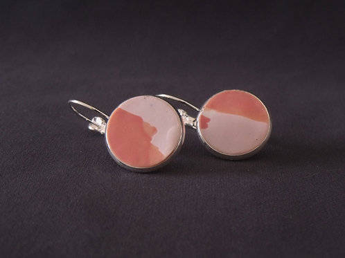 Pink Patch Silver Plated Medium Drop Earrings