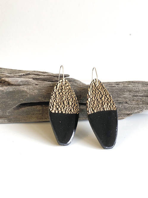 Black & Gold clay resin statement earring | Salt Spray Jewellery