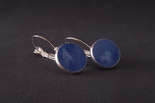 Deep Blue Silver Plated Medium Drop Earrings