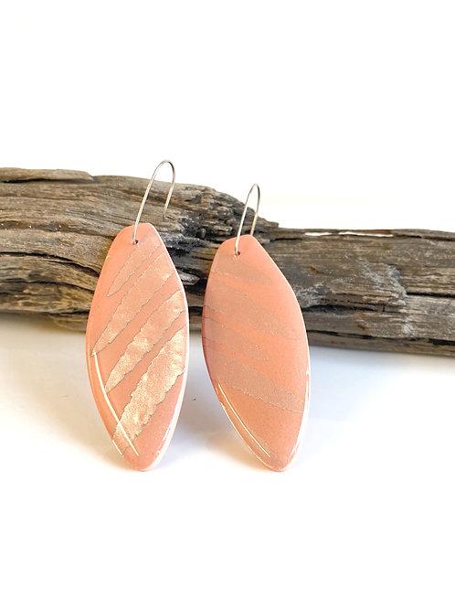 Peach paddle earring clay resin | Salt Spray Jewellery