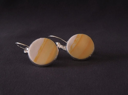 Orange & White Silver Drop Earrings | Salt Spray Jewellery