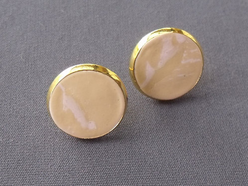 Gold Plated Stud Earrings Camel/Pink