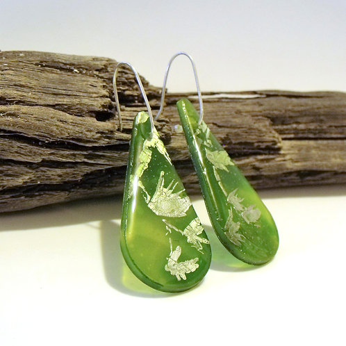 Silver Green Teardrop Statement Earring | Salt Spray Jewellery