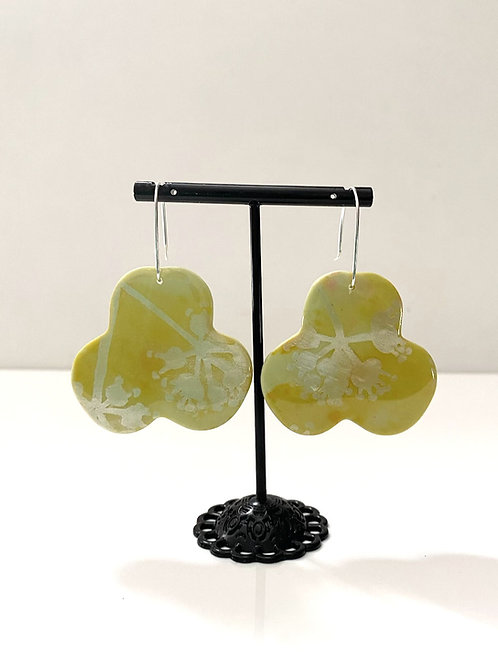Citrus green resin & clay statement earring   Salt Spray Jewellery