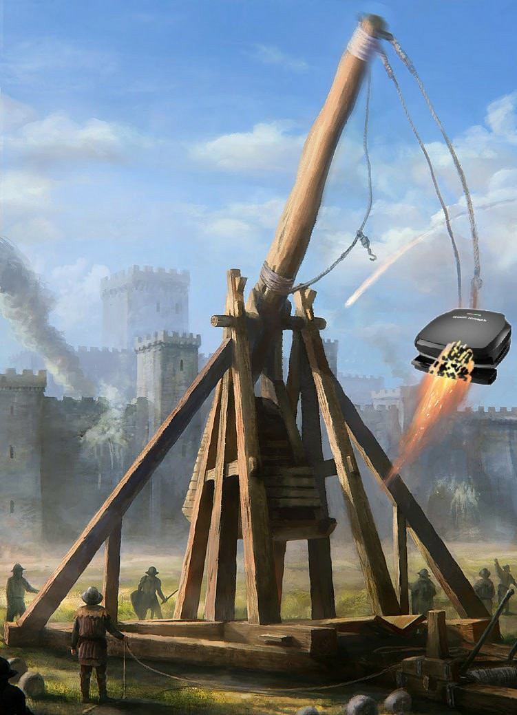 Trebuchet launching a George Foreman Grill