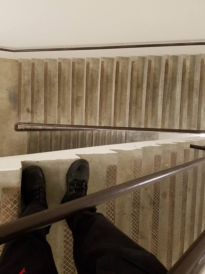 One of those stairwells where, if you fell over the railing, you probably wouldn't fall all the way to the bottom.