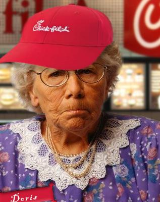 Old lady Doris wearing a Chick-fil-A hat.