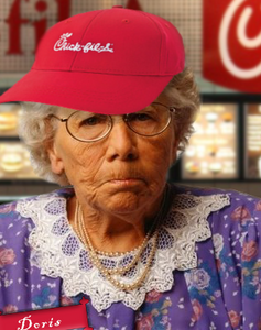 Old lady Doris wearing a Chick-fil-A hat.