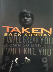 Adam Lazzara poses on the original Taken movie poster