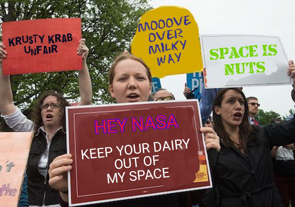 Vegan Protesters. Also, Krusty Krab funfair