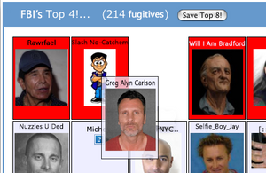 MySpace page showing FBI's most wanted criminals