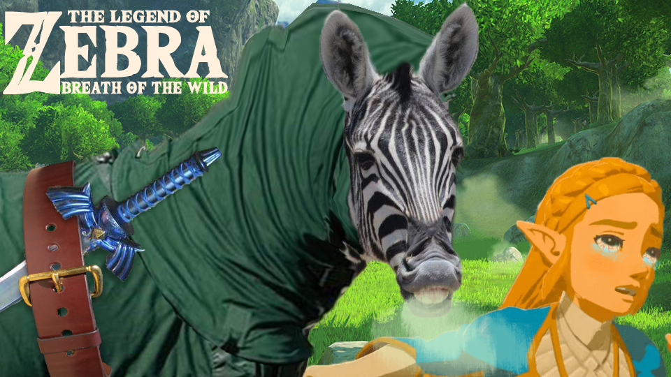 A zebra in a green tunic (with master sword and belt included) breathes on Princess Zelda whose eyes are rolling back.