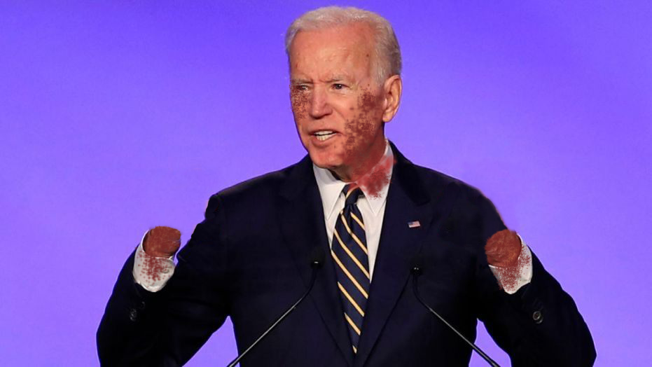 Joe Biden with bloody stumps for hands.