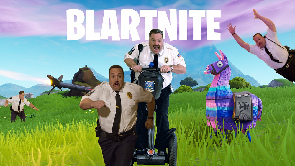 Four Paul Blarts verb around an area of Fortnite.
