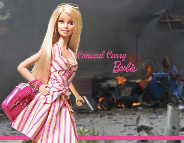 Barbie doll carrying a handgun
