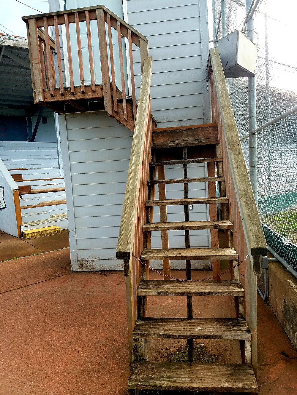 Stairs leading to the announcer's area