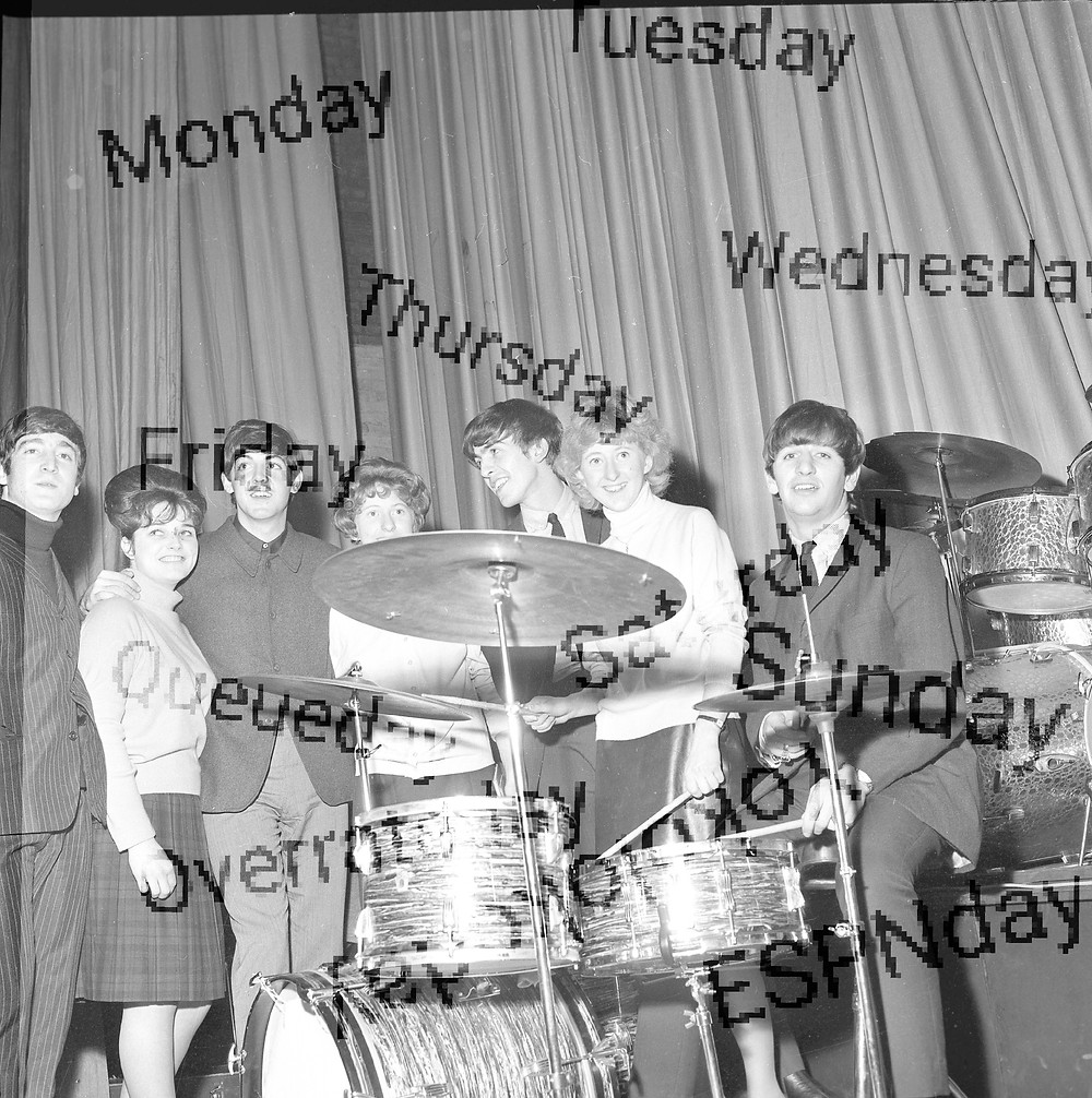 The Beatles with their dates. Also pictured: Ringo Starr