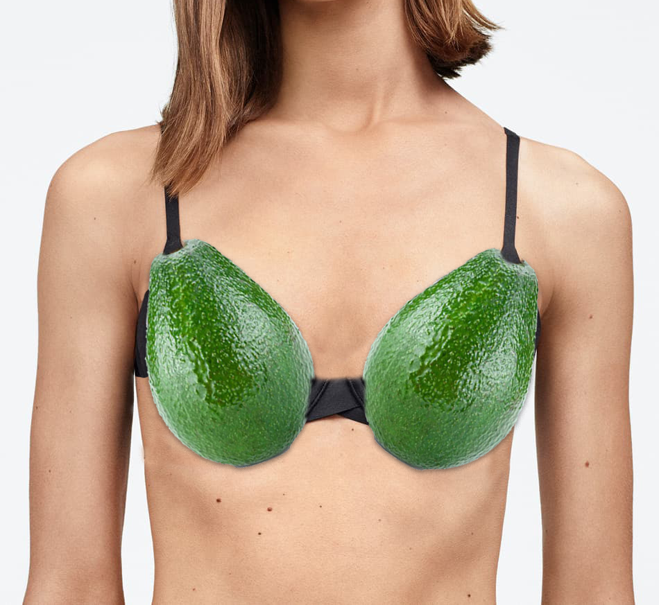 Woman wearing an avocado bra.