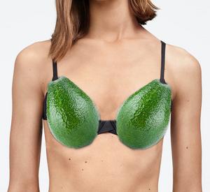 Woman wearing an avocado bra.