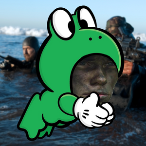 Face-painted soldier in Mario's frog suit
