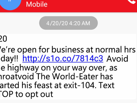 In Midst of Apocalypse, Man Receives Text That 420 West, Carpenter Still Open for Business