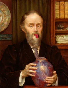 Man holding vase with his tongue out.