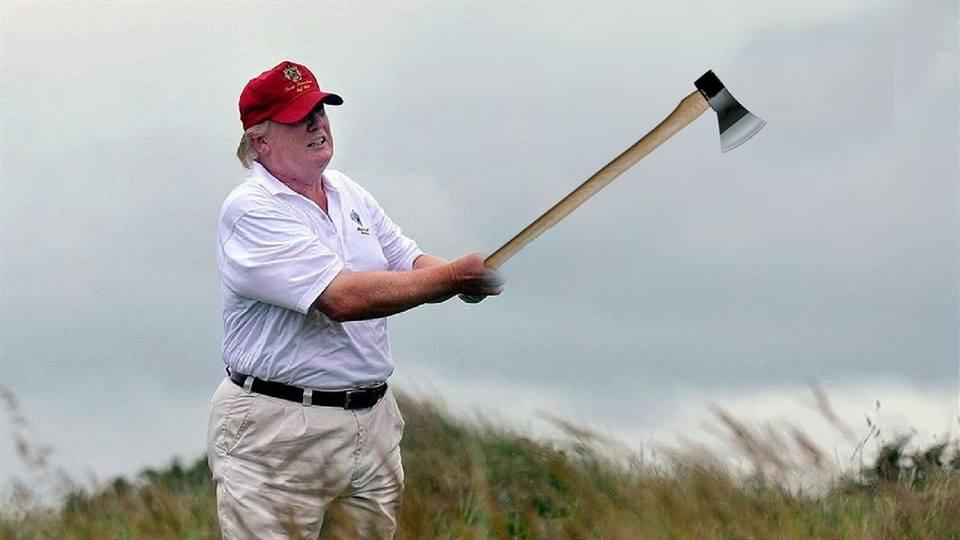 Trump wields an axe like a golf club.