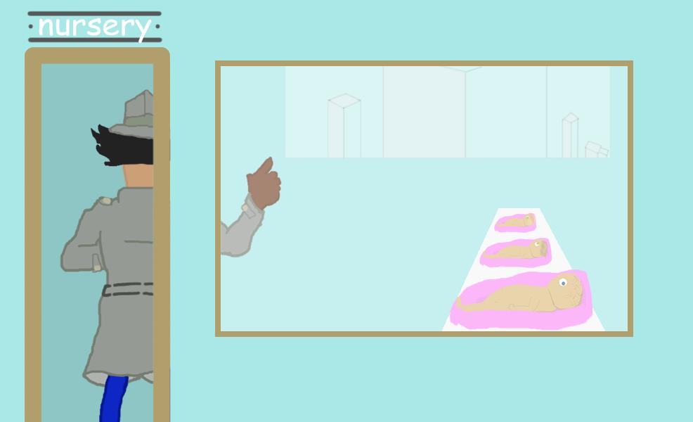 Inspector Gadget walks into the hospital's nursery where the babies are kept.