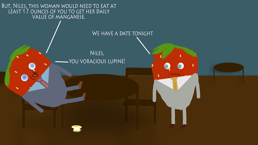 Fraise (Frasier) and Niles crane discuss matters in their favorite cafe.