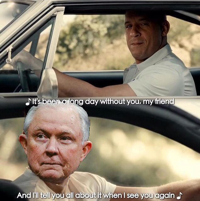 Jeff Sessions drove away but had to say good bye to Vin Diesel