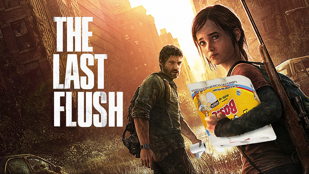 Joel and Ellie from The Last of Us but they're holding toilet paper.