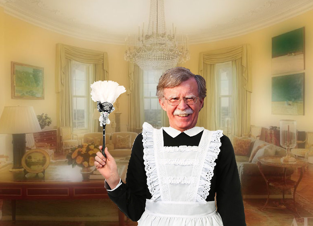 John Bolton looks great in a maid's outfit, I will say