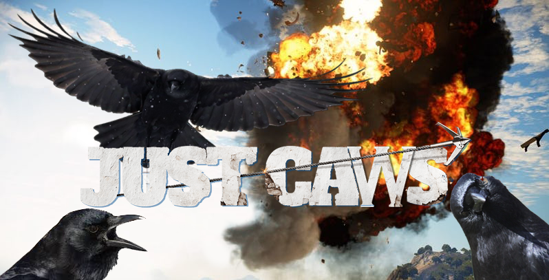 Crows on the cover of Square Enix's Just Cause game. Big explosion in the background.