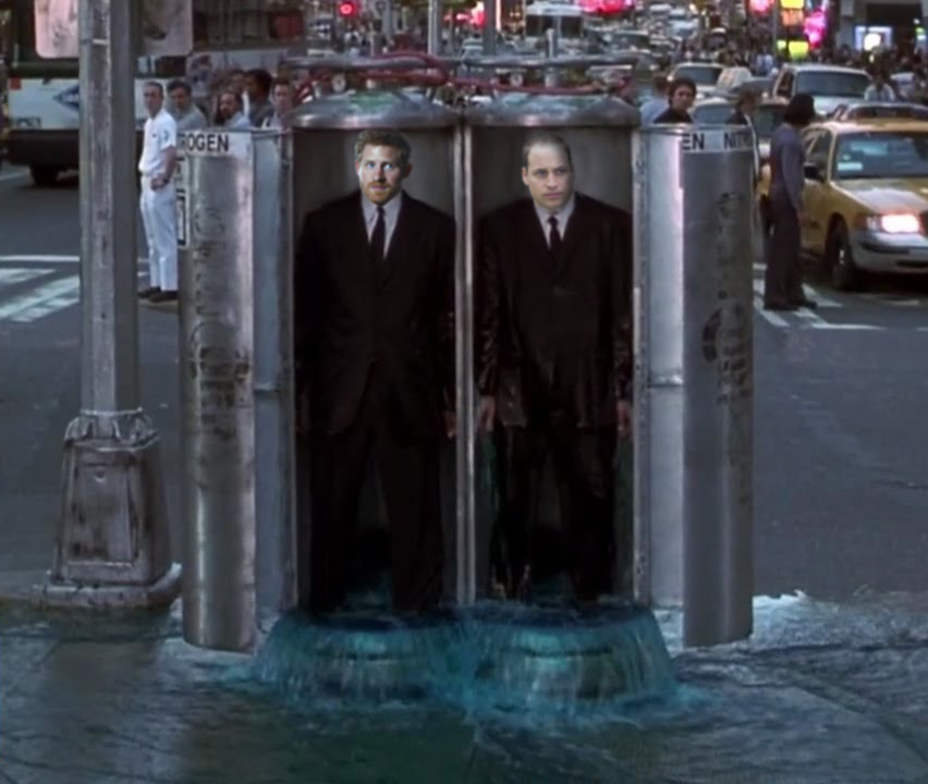 Princes Harry and William stand in nitrogen tanks on a New York street after being flushed.