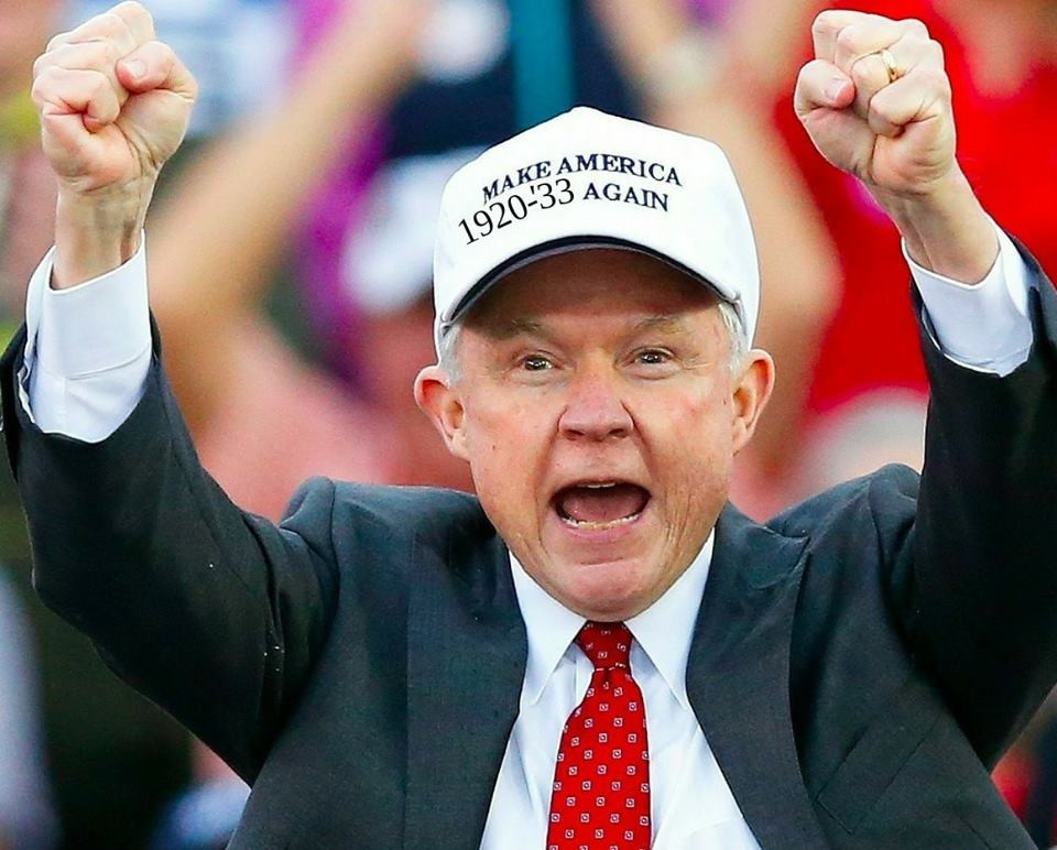 "Jeff Sessions wears a ""Make America 1920-1933 Again"" hat at a Trump rally."