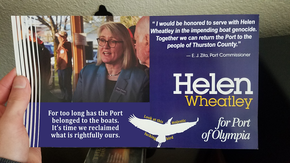 """Helen Wheatley fake ad. """"For too long has the port belonged to the boats. It's time we reclaimed what is rightfully ours."""""""