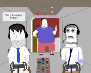 Cartoon comic airplane cockpit
