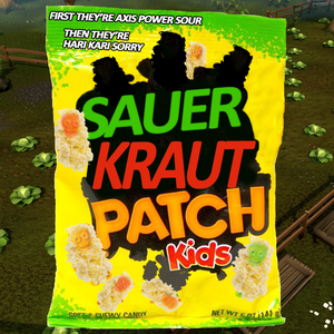 """It's a Sour Patch Kids bag but it's changed to Suerkraut Patch Kids. """"First they're axis power sour, then they're hari kari sorry."""""""